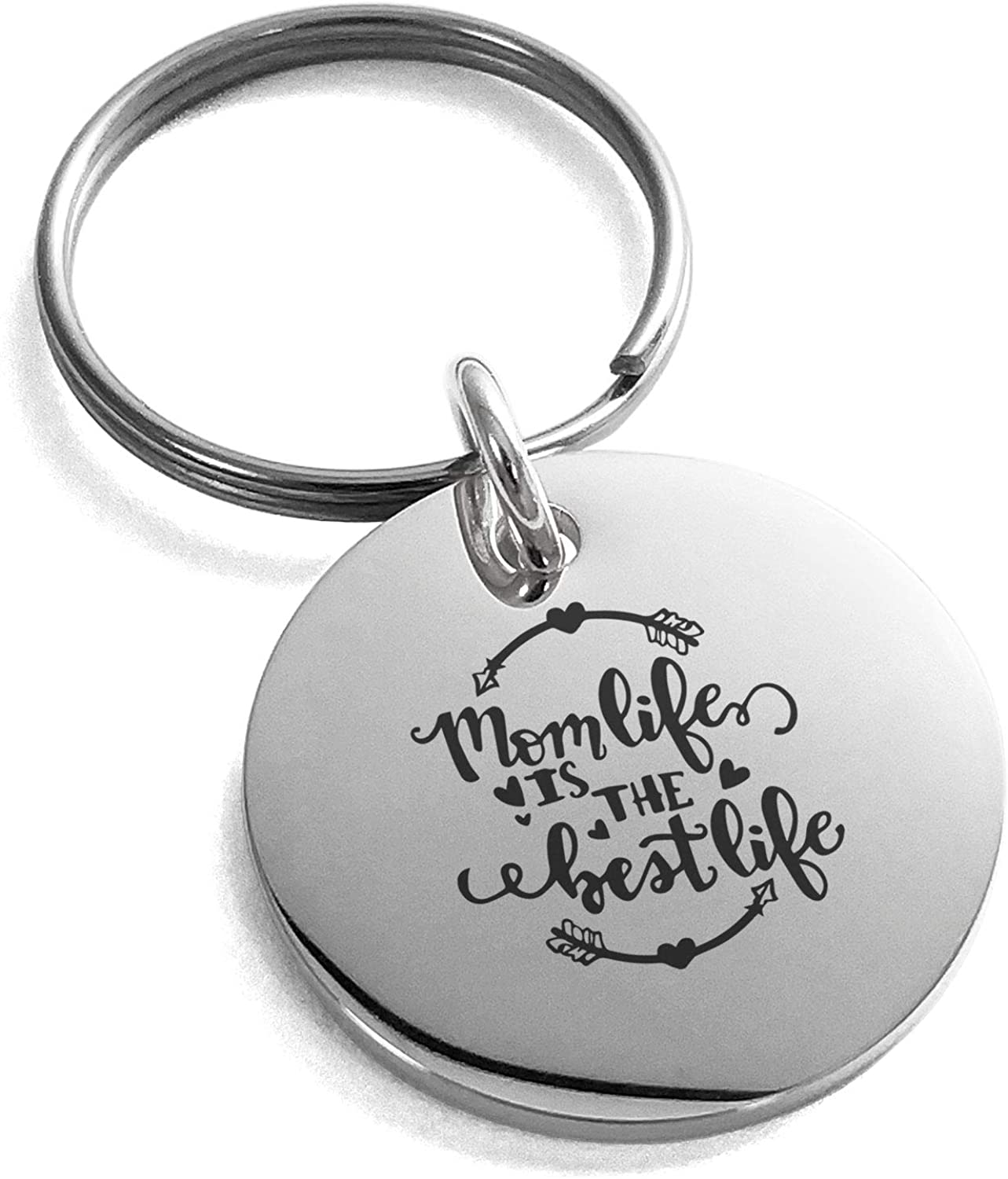Tioneer Stainless Steel Mom Life is The Best Life Small Medallion Circle Charm Keychain Keyring