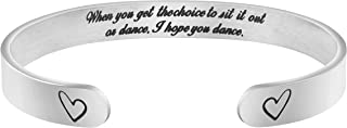MEMGIFT Dancer Gifts Inspirational Dance Bracelet Stainless Steel Dance Cuff Motivational Christmas Jewelry