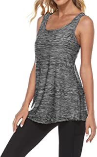 Tanst Sky Women's Tank Top Built in Bra with Removable Pads Workout Tops Sleeveless Racerback Activewear