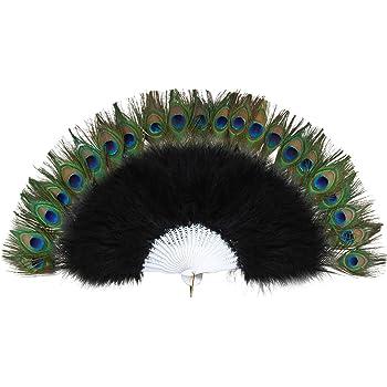 YA-Uzeun - Abanico plegable de plumas de bambú con decoración de plumas de pavo real, diseño de baile (amarillo): Amazon.es: Belleza