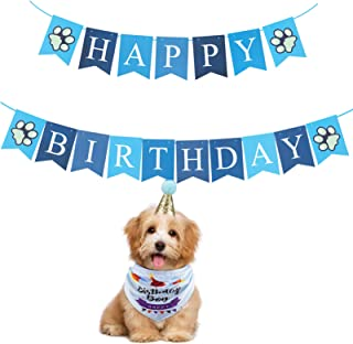 Blue Happy Birthday Banner for Pets Dogs Cats