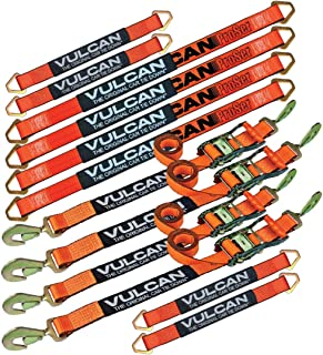 VULCAN PROSeries Complete Axle Strap Tie Down Kit with Snap Hook Ratchet Straps