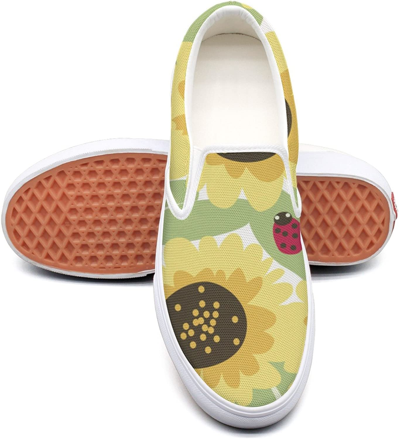 SEERTED Sunflower and Ladybugs Comfortable Sneakers for Standing All Day
