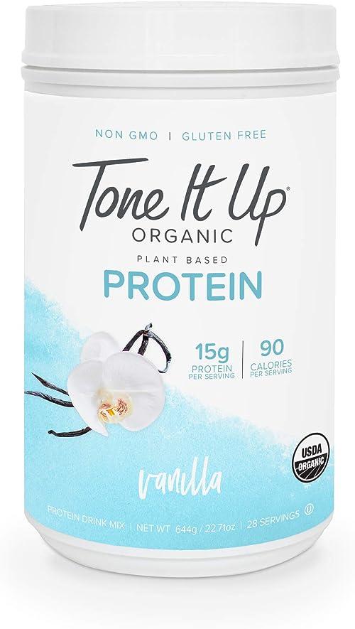 Tone It Up Organic Vegan Vanilla Protein Powder for Women | 100% Pea Protein Sugar Free Gluten Free | 15g of Protein ...