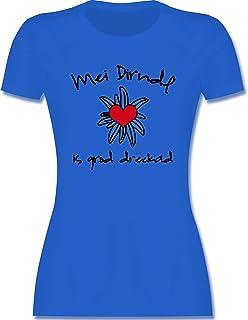 Shirtracer Oktoberfest & Wiesn Damen - Dirndl is dreckad - Shirt statt Dirndl - Tailliertes Tshirt für Damen und Frauen T-Shirt