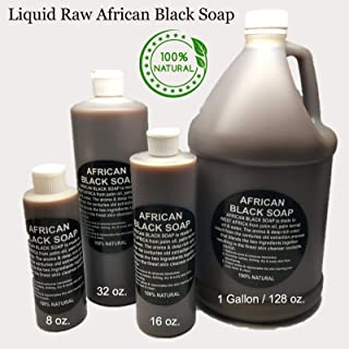 Liquid Raw African Black Soap - 100% Pure & Natural Bath Body Face Wash - Free of chemicals - With Tea Tree Essential Oil From Ghana by HalalEveryday -16oz