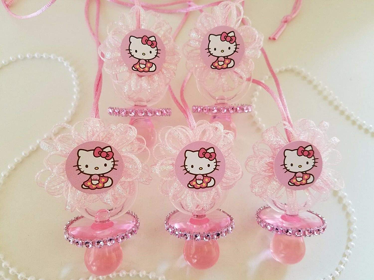 12 Hello Ranking TOP11 Kitty Pink Pacifier Necklaces P Favors Game Shower Baby Finally resale start