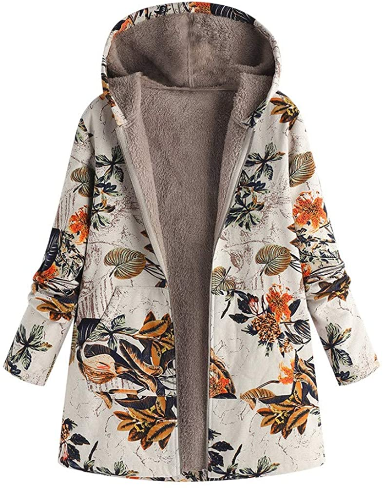 TRENDINAO Women Hooded ParkaCoats Plus Size Winter Warm Zipper Tall Outwear PaddedJacket with Faux Fur Lined