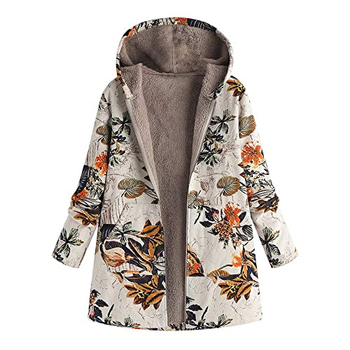 f97c1e36 Holywin Womens Vintage Winter Hairy Warm Outwear Floral Print Hooded Full  Zip Jacket