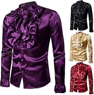 Men Long Sleeve Ruffle Dress Shirts Slim Fit Stand Collar Button Down Party Ball