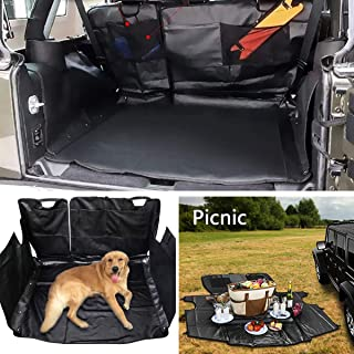E-cowlboy Dog Car Seat Cover Cargo Liner for Jeep Wrangler JK JKU 4-Doors 2007~2018 Waterproof Nonslip Washable Heavy Duty Oxford - All Weather Odorless (Black)