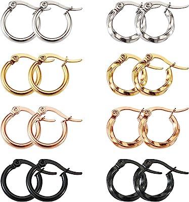 PandaHall - Orecchini a cerchio in acciaio al titanio, 4 colori, 15 mm, con anello, per donne e ragazze, colori assortiti