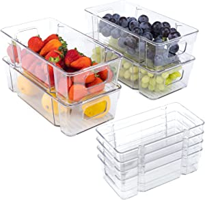 8 Pack Refrigerator Organizer Bins Stackable Fridge Organizers Pantry Food Storage Clear Plastic Containers with Handles for Freezer, Kitchen, Countertop and Cabinets