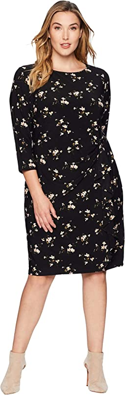 Plus Size Flutter Floral Amadora 3/4 Sleeve Day Dress