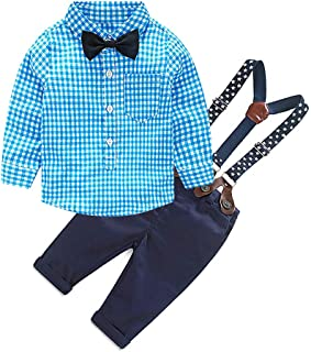 Merryway Toddler Boys Outfits Suit Infant Clothing Newborn Baby Boy Clothes Sets Gentleman Plaid Top+Bow Tie+Suspender Pants
