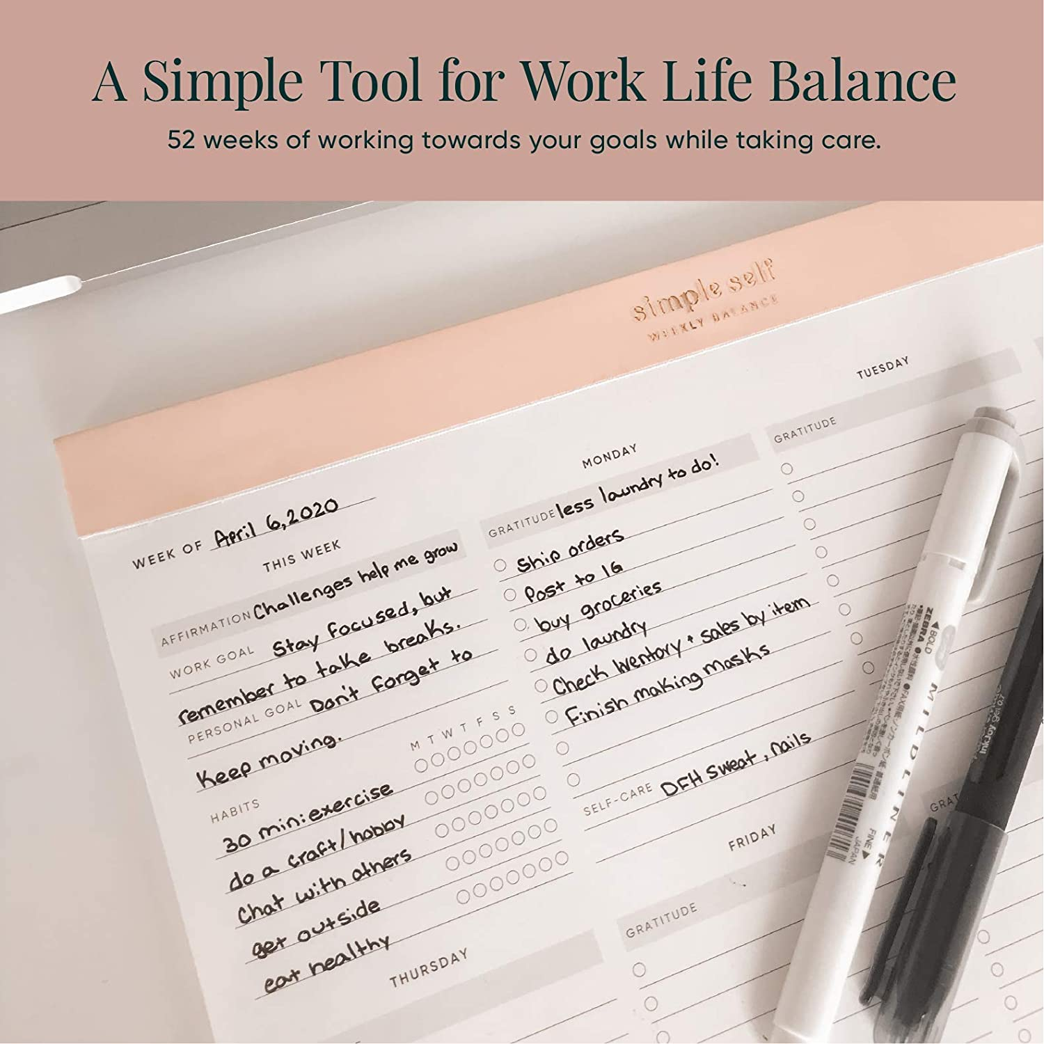 Wellness Habit Tracking Sand Grey Goal Setting Best Weekly to Do Pad for Productivity Daily to Do List Gratitude Work-Life Balance Planning Pad Self Care