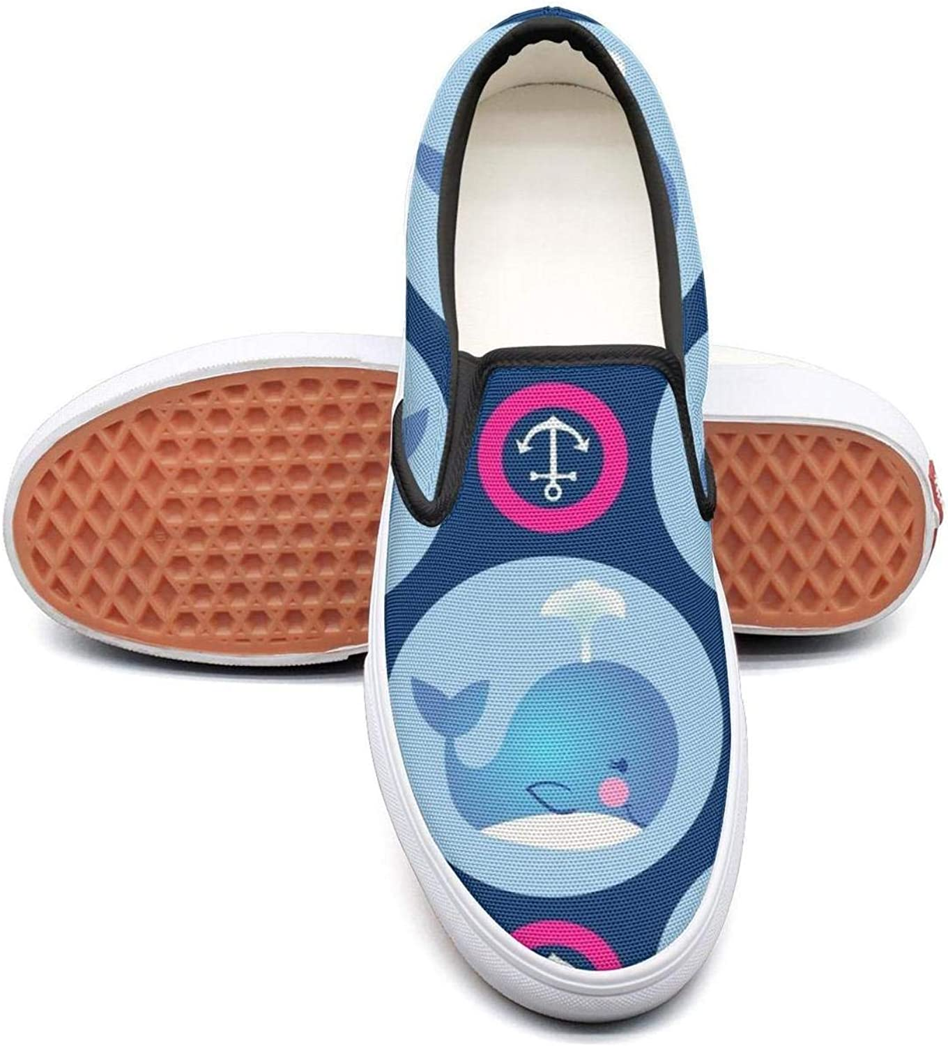 Refyds-es Cute Whales and Fuchsia Anchors Womens Fashion Slip on Low Top Lightweight Canvas Cloth shoes