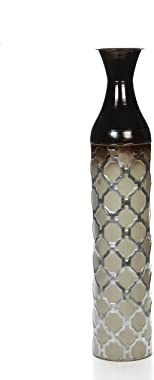 "Hosley Metal Brown Grey Tones Moroccan Embossed Floor Vase, 28.5"" High. Great Vase for Dried Floral Arrangements, Craft Proje"