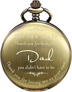 """TREEWETO Pocket Watch Men Personalized Engraving """"Thank You for Being The Dad"""