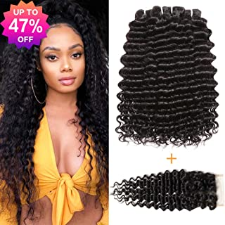 Pofei 9a Brazilian 3 Bundles Deep Wave With Closure 20 22 24 +18 150% Density Deep Wave Hair Bundles With Swiss Lace Closure 100 Real Virgin Hair Brazilian Deep Curly Bundles With Free Part Closure