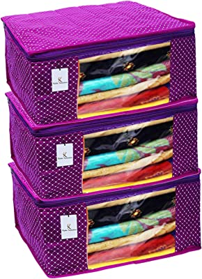 Kuber Industries Polka Dots 3 Piece Cotton 3 Layered Quilted Saree Cover, Purple-CTKTC21289