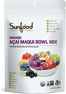 Sunfood Superfoods Acai Maqui Bowl Mix, Organic. 6 oz Bag