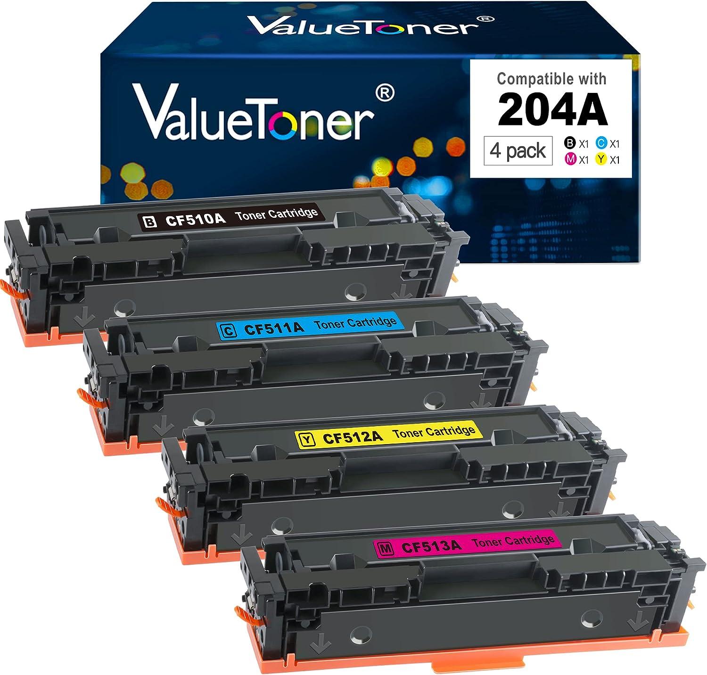 Valuetoner Compatible Toner Cartridge Replacement for HP 204A CF510A CF511A CF512A CF513A to use with Color Laserjet Pro MFP M180nw M154nw M180n M154a MFP M181fw Printer (4-Pack)