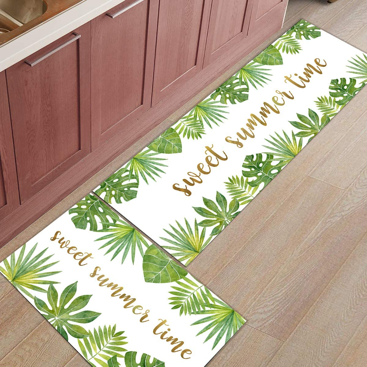 2 Pieces Opening large release sale Kitchen 100% quality warranty Rug Set Non-Slip Rugs Mat Doormat Backing Throw
