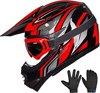 ILM Youth Kids ATV Motocross Dirt Bike Motorcycle BMX Downhill Off-Road MTB Mountain Bike Helmet DOT Approved (Youth-S, Red/Silver)