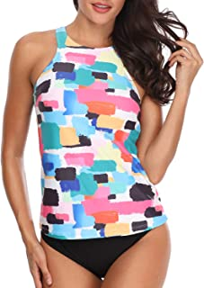 Holipick Women Two Piece Plus Size Sexy Backless High Neck Halter Floral Printed Top with Hipster Bottoms Tankini Set