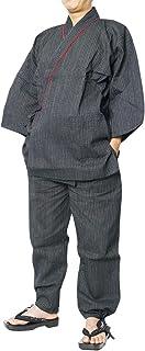作務衣 メンズ 夏 作務衣しじら織り 黒ストライプ襟レース 当店オリジナル