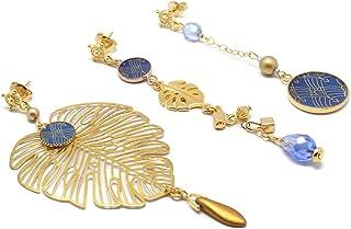 MONSTERA orecchini oro 24K resina arabesco art déco blu perla duo o trio regali di natale amici cerimonia di compleanno ma...
