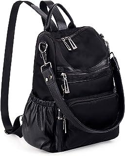 UTO Damen Rucksack Nylon PU Washed Leder Cabrio Quaste Reißverschluss Tasche Umhängetasche Schwarz