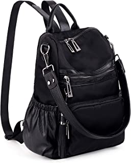 UTO Women Backpack Purse PU Leather Nylon Fabric Convertible Ladies Rucksack Lightweight Tassel Shoulder Bag Black