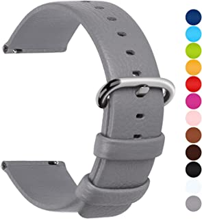 12 Colors for Quick Release Leather Watch Band, Fullmosa Uli Series Genuine Leather Replacement Watch Strap with Stainless Metal Clasp 18mm 20mm 22mm 24mm