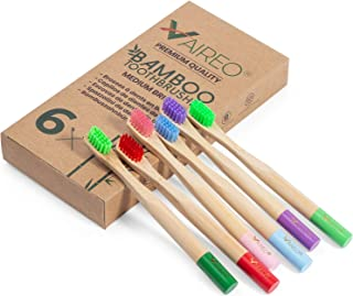 Vaireo Bamboo Eco Friendly Wooden Toothbrushes – Exclusive Design for Kids Non - Tonic, Safe, Infused Colorful Ergonomics Handle Biodegradable Non Plastic Bristles Recyclable Sustainable Pack of 6