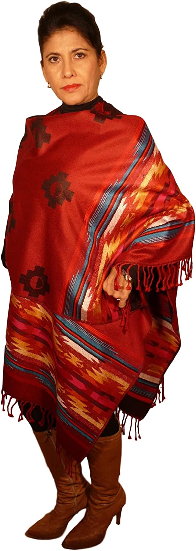 Women Shawl Navajo Serape Wrap Cape Sarape 30% Alpaca REDblueEWHITEBCRS