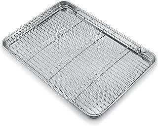 WEZVIX plaque à pâtisserie avec grille, 60 x 40 x 3 cm plat à rôtir rectangulaire en acier inoxydable, plaque de cuisson p...