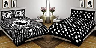 Fecom Combo Long Leaf Pattern 144 TC 90 inch x 108 inch OR 228 cm x 274 cm 100% Cotton King 2 Bedsheet with 4 Pillow Cover...