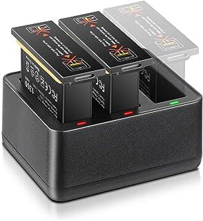 ENEGON Pack de 2 Reemplazo baterías para OSMO Action (385V 1300 mAh) + Cargador rápido Inteligente de 3 Canales para dji OSMO Action