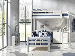 Lit Mezzanine 90x200 - Lit junior 90x200 2 sommiers Inclus et Commode 2 portes Pino - Blanc