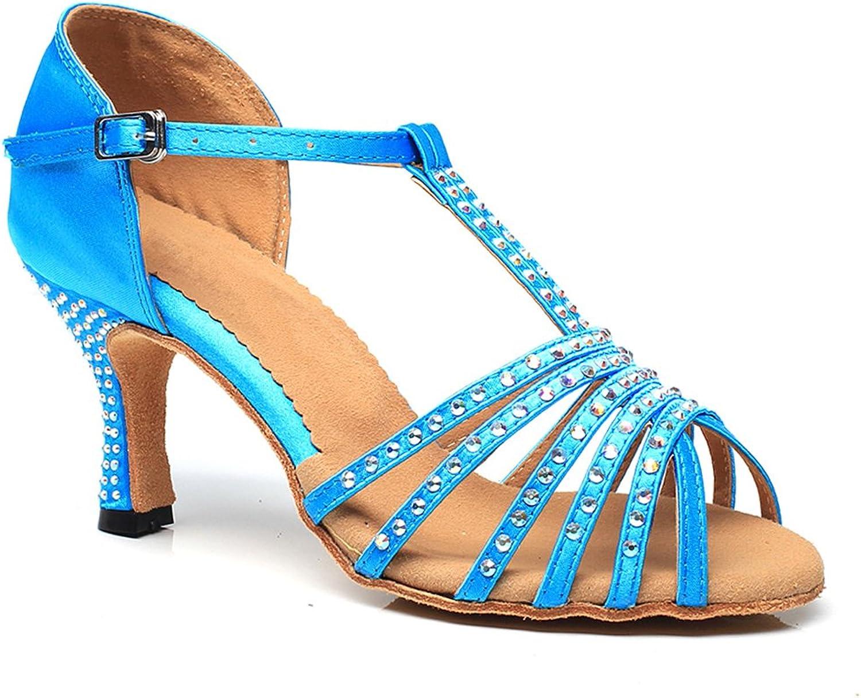 Pierides Women's Peep Toe Sandals Latin Salsa Tango Practice Ballroom Dance shoes with 2.75  Heel bluee