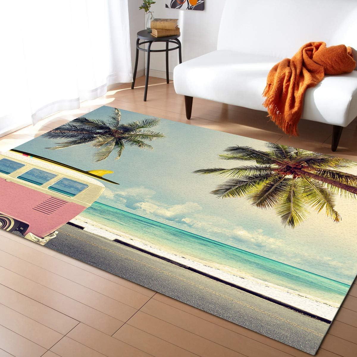 MuswannaA Area Rug for National uniform free Popular overseas shipping Bedroom Room- Summer Ocean Living Coastal