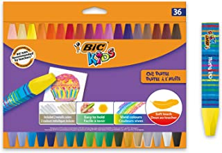 BIC Kids Oil Pastels - Assorted Colors - 36 Count - Easy to Hold Oil Pastel Crayons with Smooth Gliding Wax