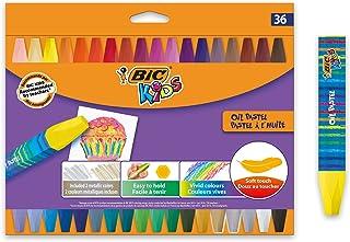 BIC Kids Pastel à l'Huile - Couleurs Assorties, Etui Carton de 36