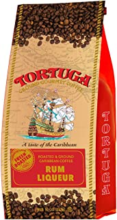 TORTUGA Caribbean Rum Liqueur Flavored Coffee- Roasted and Ground Coffee 10oz - The Perfect Premium Gourmet Gift for Gift Baskets, Parties, Holidays, and Birthdays