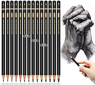 مجموعه مداد طراحی حرفه ای - Brusarth 14 قطعه مداد طراحی 12B ، 10B ، 8B ، 6B × 2,4B × 2,2B × 2 , B ، HB ، 2H ، 4H ، 6H ، هنر طراحی ، طراحی ، سایه زنی ، برای مبتدیان