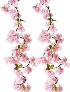 BEFINR Artificial Cherry Blossom Vine Pink Petal Flower Forever Plant Garland for Art Home Decoration Wedding Party Garden Office 2 Pack