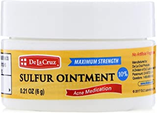 De La Cruz 10% Sulfur Ointment Acne Medication, Allergy-Tested, No Preservatives, Fragrances or Dyes, Made in USA, Trial Size 0.21 OZ.