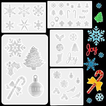 XINRUI 14 Pcs Snowflake Mold Christmas Snowflake Mould Snowflake Resin Casting Molds Christmas Antlers Elk Snowflake Silicone Mold UV Resin Glue Drop Glue Mold Handmade Accessories Tool